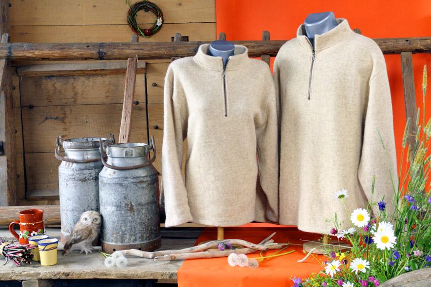 Stehkragenpullover, leicht gewalkt | 100 % Schurwolle
